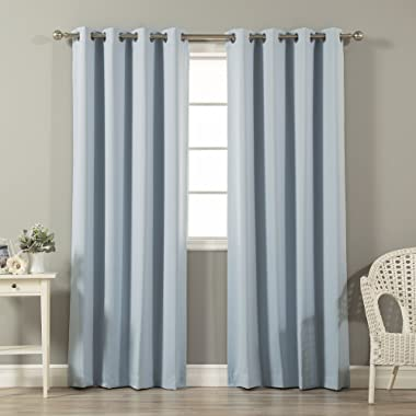 Best Home Fashion Thermal Insulated Blackout Curtains - Stainless Steel Nickel Grommet Top - Sky Blue - 52 W x 84 L - (Set of 2 Panels)