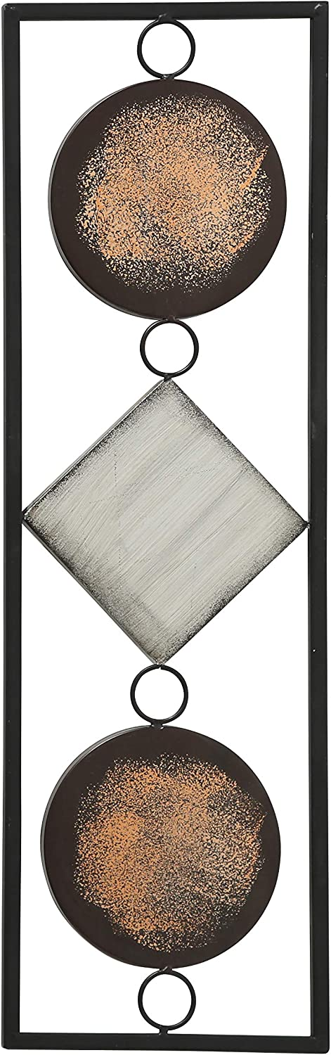 Modernist Floating Trio of 2 Circles and 1 Square, Rectangle Frame Metal Wall Art, Artisan Crafted, Rustic Gray, Bronze, Gold and Silver Painted Iron, Over 2 Ft Long, Plaque