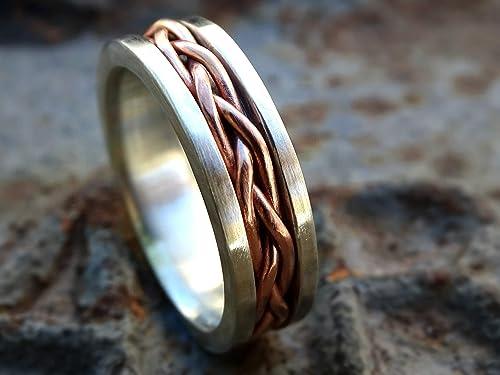 Amazon Com Hand Braided Ring Silver Copper Unique Wedding Band