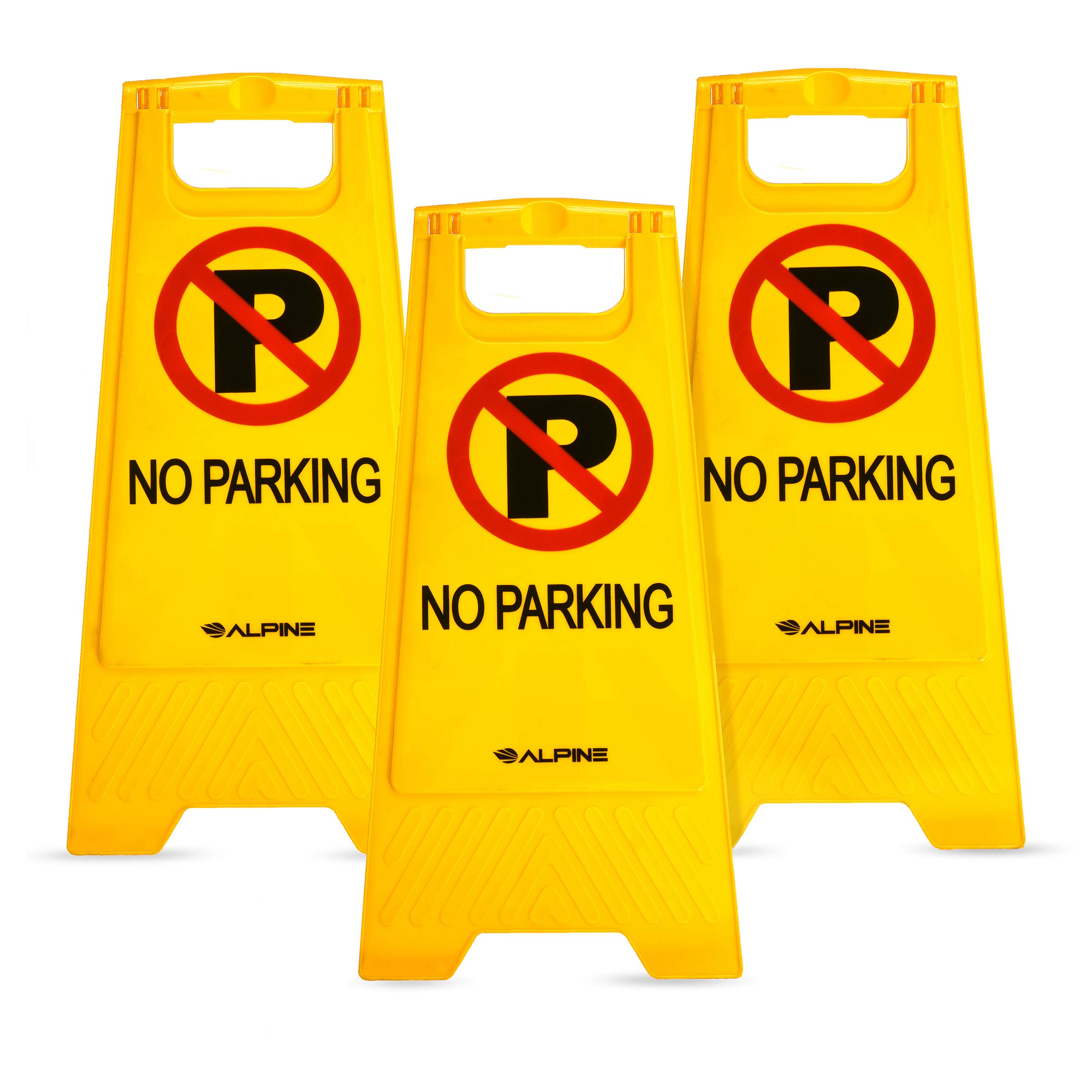 Alpine Industries Two-Sided Fold-Out No Parking Signs, Pack of 3 - Portable Outdoor Folding Floor Sign - Yellow Self Standing & Easy to Read Plastic Board for Restaurants and Businesses by Alpine Industries