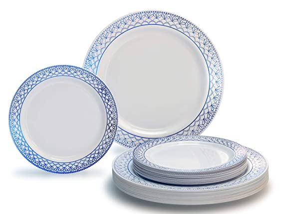"""OCCASIONS"""" 50 piece (25 guest) Wedding Party Disposable Dinnerware Set (Skye, in Metallic Blue)"""