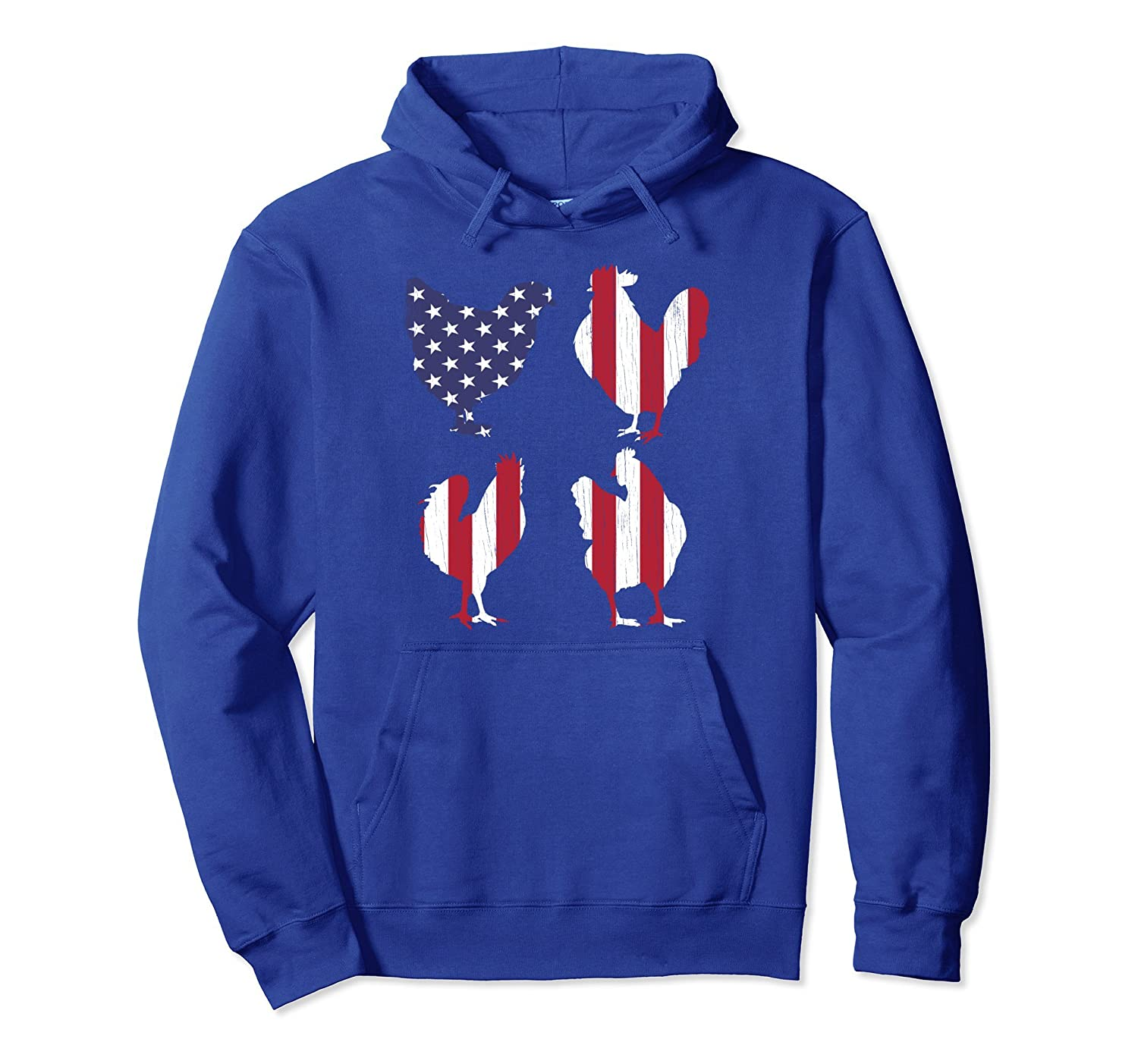 4th of July Hoodie American Flag Chicken Men Women Mom USA-AZP