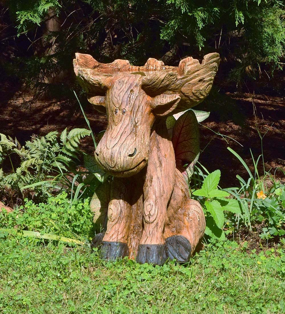 Plow & Hearth Northwoods Sitting Moose with Antlers Birdbath, Garden and Landscape Accent in Hand-Painted All-Weather Wood-Look Carved Resin, 17¼