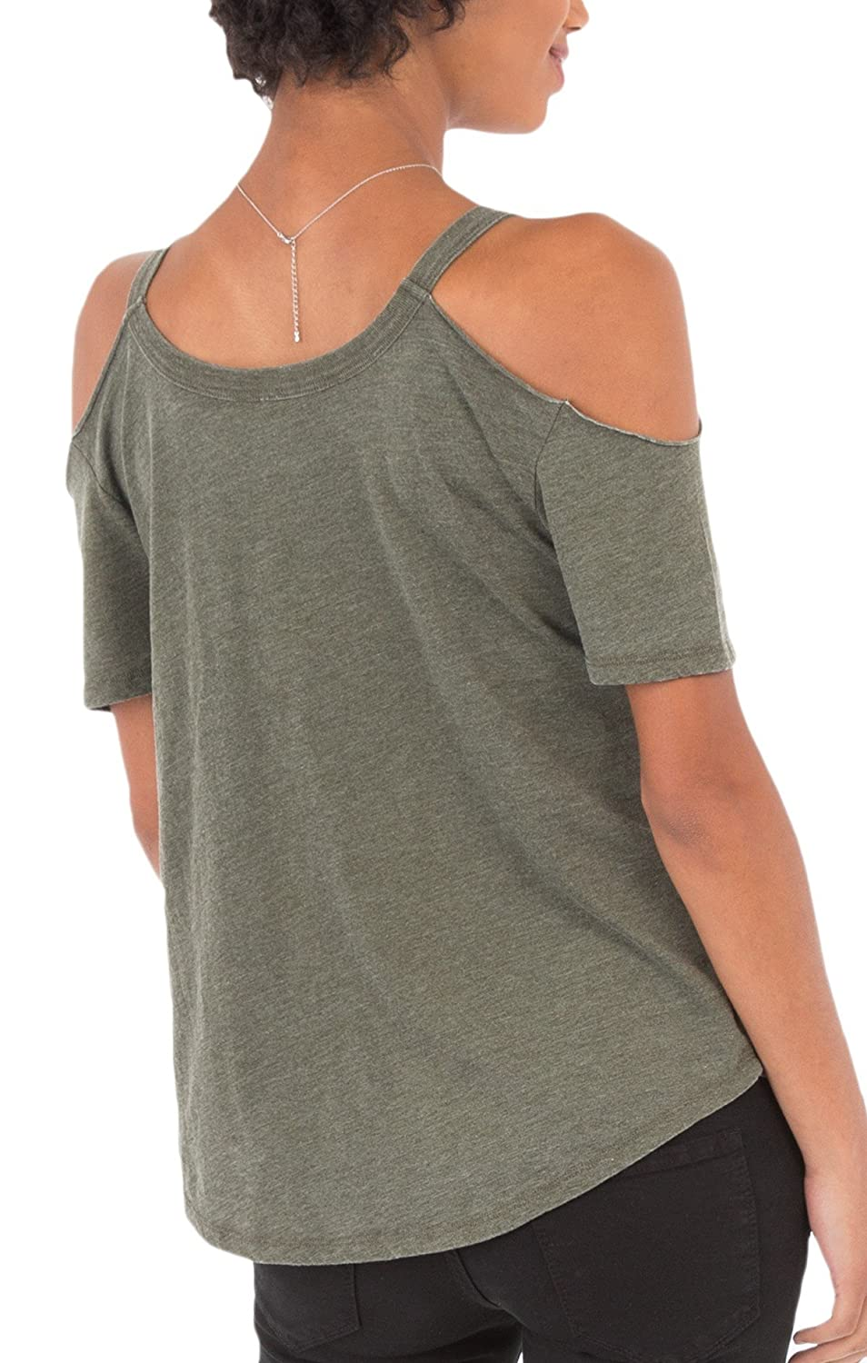 18d0041982050 Z SUPPLY ZT173129 The Cold Shoulder Tee in Rosin (Large) at Amazon Women s  Clothing store