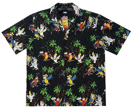 18510218f Lapa Pacific Legend   Original Hawaiian Shirt   for Men   S - 4XL    Short-Sleeve   Front-Pocket   Hawaiian-Print   Party Parrots Palms   Black:  ...