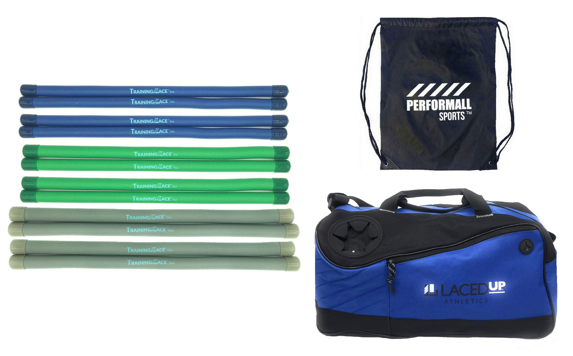 Training Lace Lacrosse Team Pack Combo: 4 of 5oz, 8oz and 12oz plus 1 Duffle Bag Lacedup Athletics TrainingLace bundled with 1 Performall Sport Bag