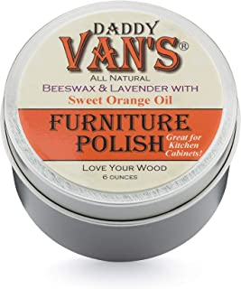 product image for Daddy Van's All Natural Lavender & Sweet Orange Oil Beeswax Furniture Polish Chemical-Free Wood Wax Conditioner and Protectant. No Petroleum Distillates - One Tin