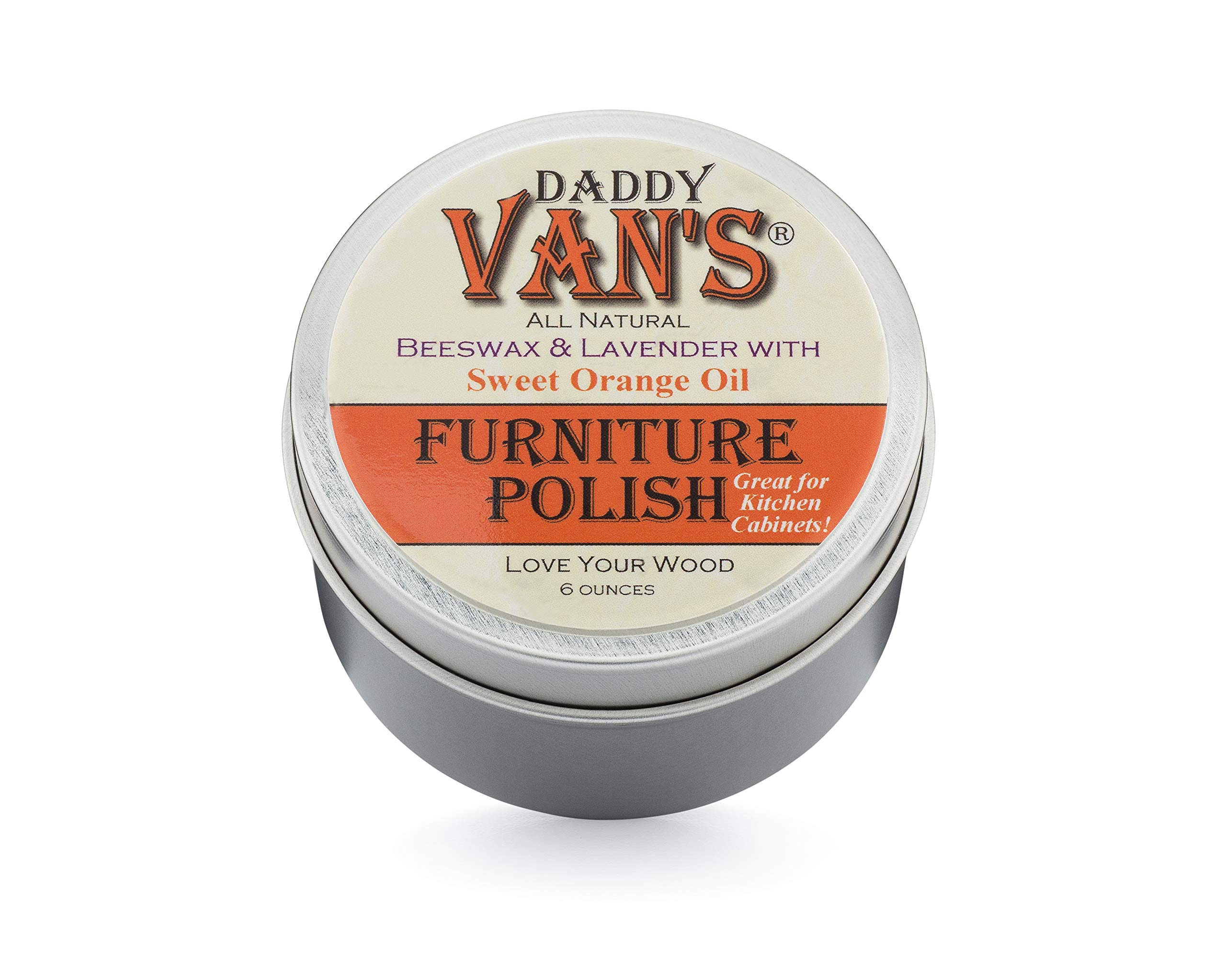 Daddy Van's All Natural Lavender & Sweet Orange Oil Beeswax Furniture Polish Chemical-Free Wood Wax Conditioner and Protectant. No Petroleum Distillates - One Tin by Daddy Van's