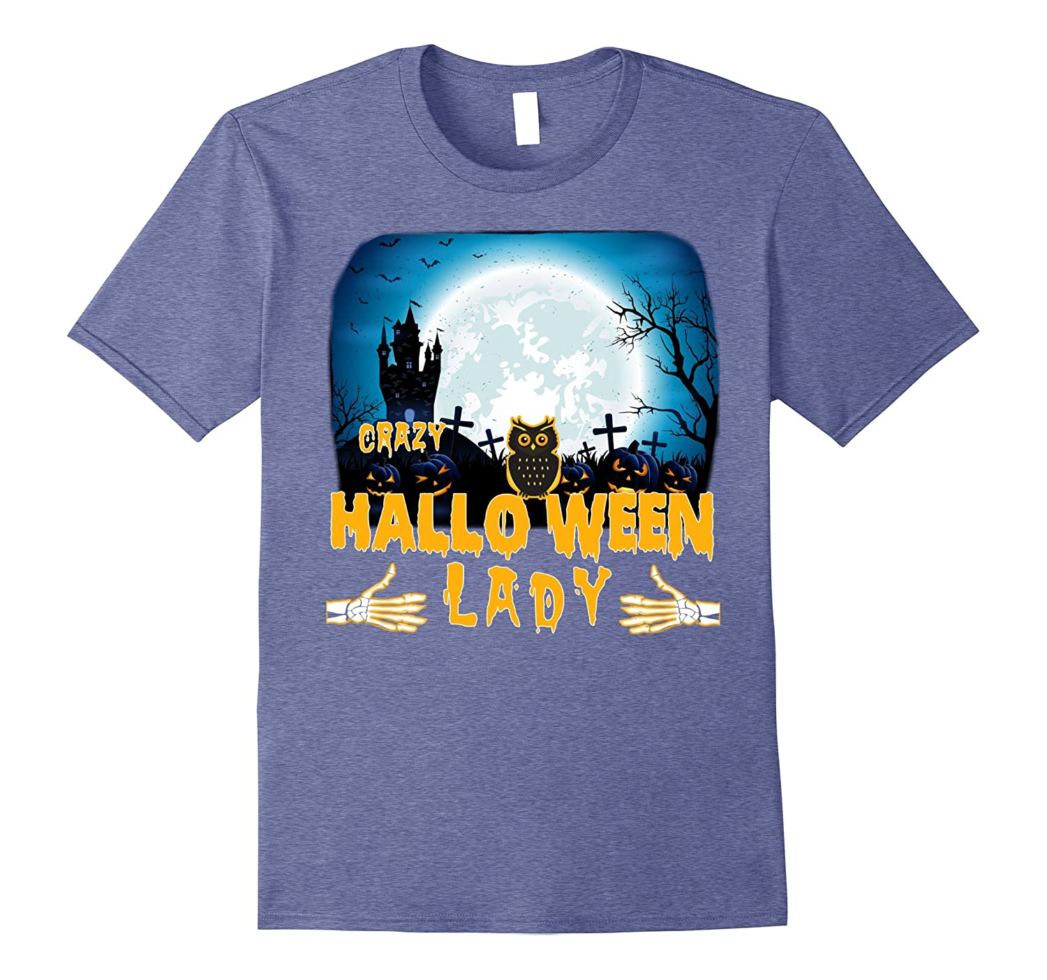 Crazy Halloween Decorations: Crazy Halloween Lady T-shirts-Art