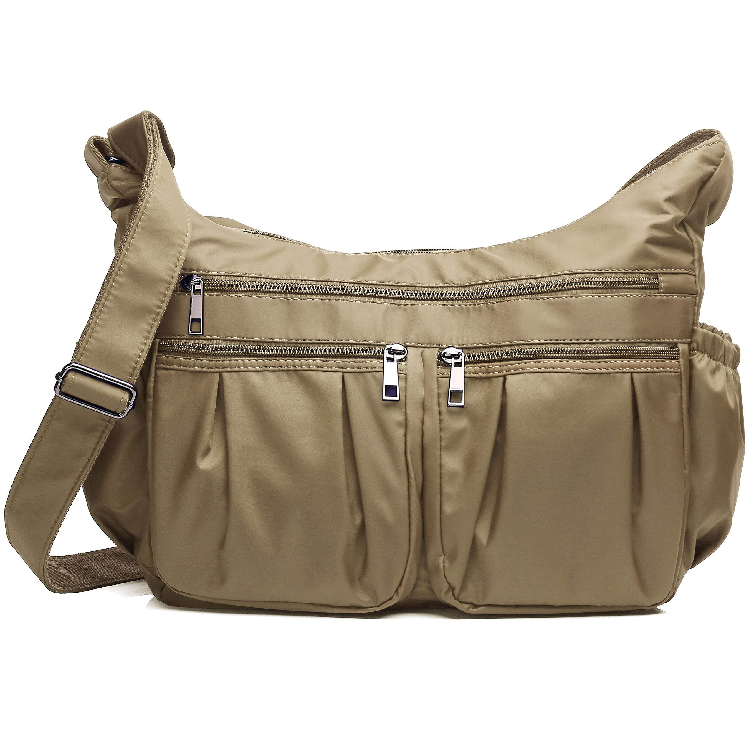 Crossbody Bags for Women, Multi Pocket Shoulder Bag Waterproof Nylon Travel Purses and Handbags (8981_Khaki-Large)