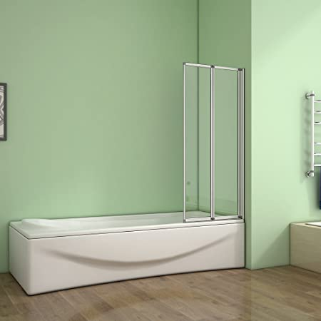 800x1400mm 2 Fold Folding Shower Screen Bath Screen Glass Panel ...