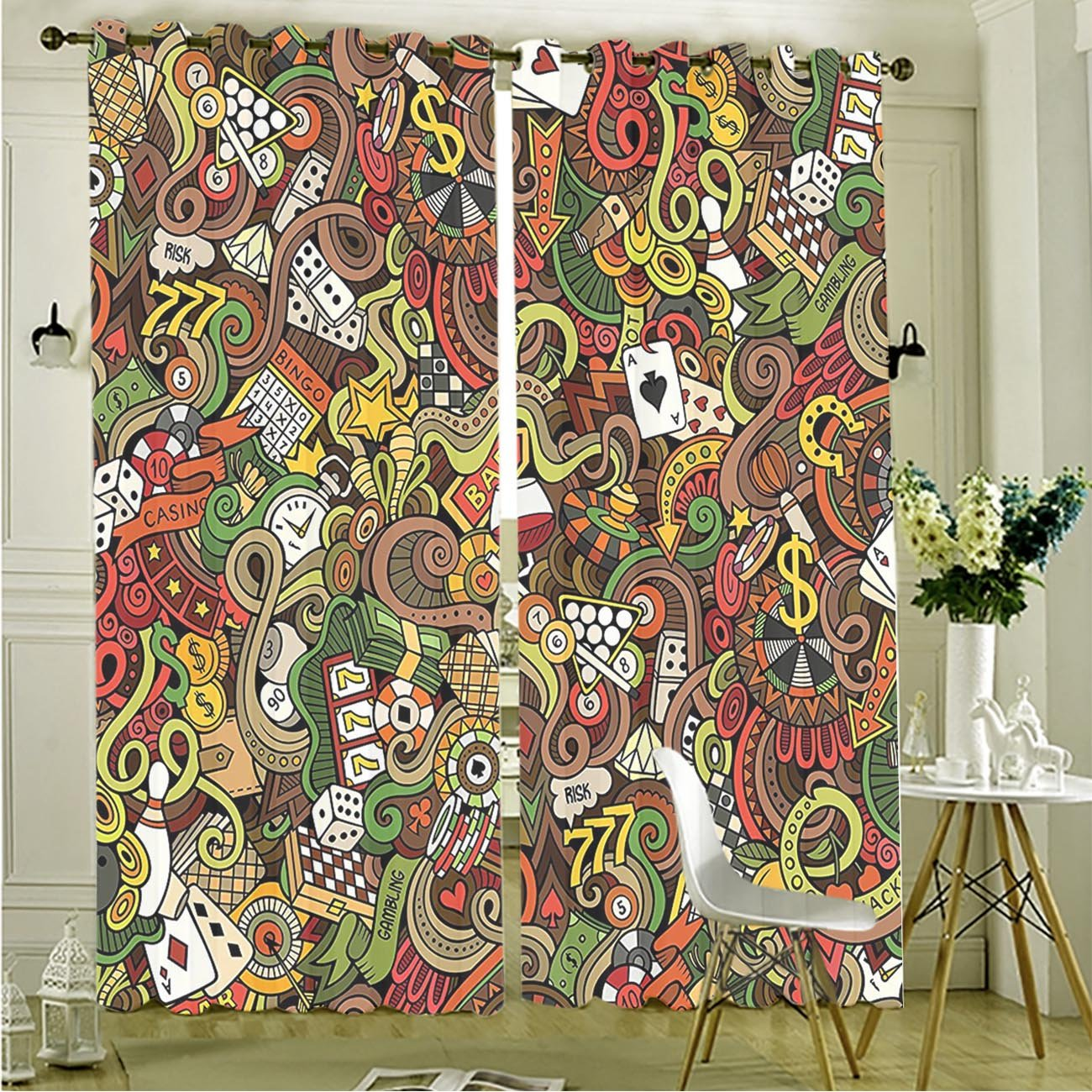 Two Panel Set Window Curtain Casino Decorations Doodles Style Art Bingo Excitement Checkers King Tambourine Vegas Polyester Window Treatments For Bedroom Diningroom Livingroom Dorm, 108''Wx84''L by LzzHc3