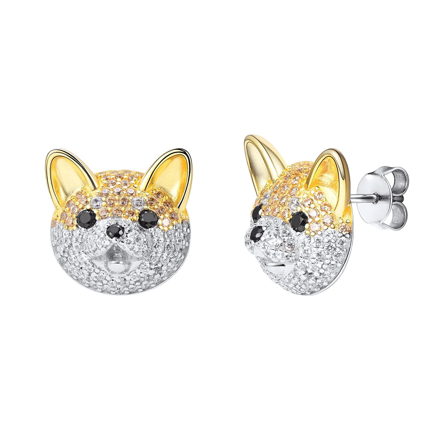 SILVERCUTE Puppy Stud Two-Tone Style Ice Out Shining And Adorable Animal Earrings
