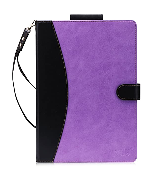 iPad Pro 10.5 Case-FYY (with Long Apple Pencile Holder and Auto Sleep Wake Function) Premium Folio Leather Case for iPad Pro 10.5 inch 2017 released Tablet Purple & Black