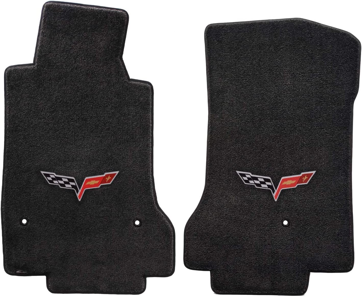 Fits 2007.5-2013 C6 Corvette Driver & Passenger Floor Mats Set; Black / Ebony Velourtex Fabric with Crossed Flags Logo Embroidery