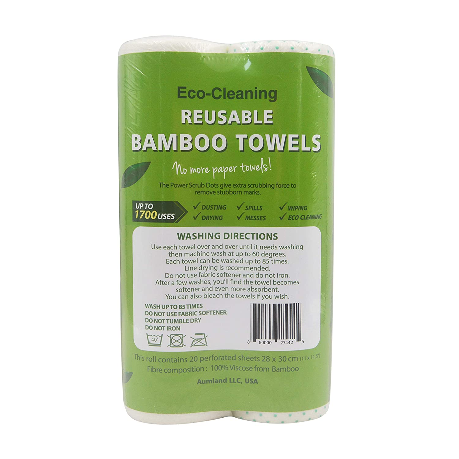 Bamboo Reusable Paper Towels | Bamboo Unpaper Towels | Machine Washable Paper Towel Roll-40 Sheets (2 Rolls) Each Roll Replaces 6 Month of Regular Paper Towels