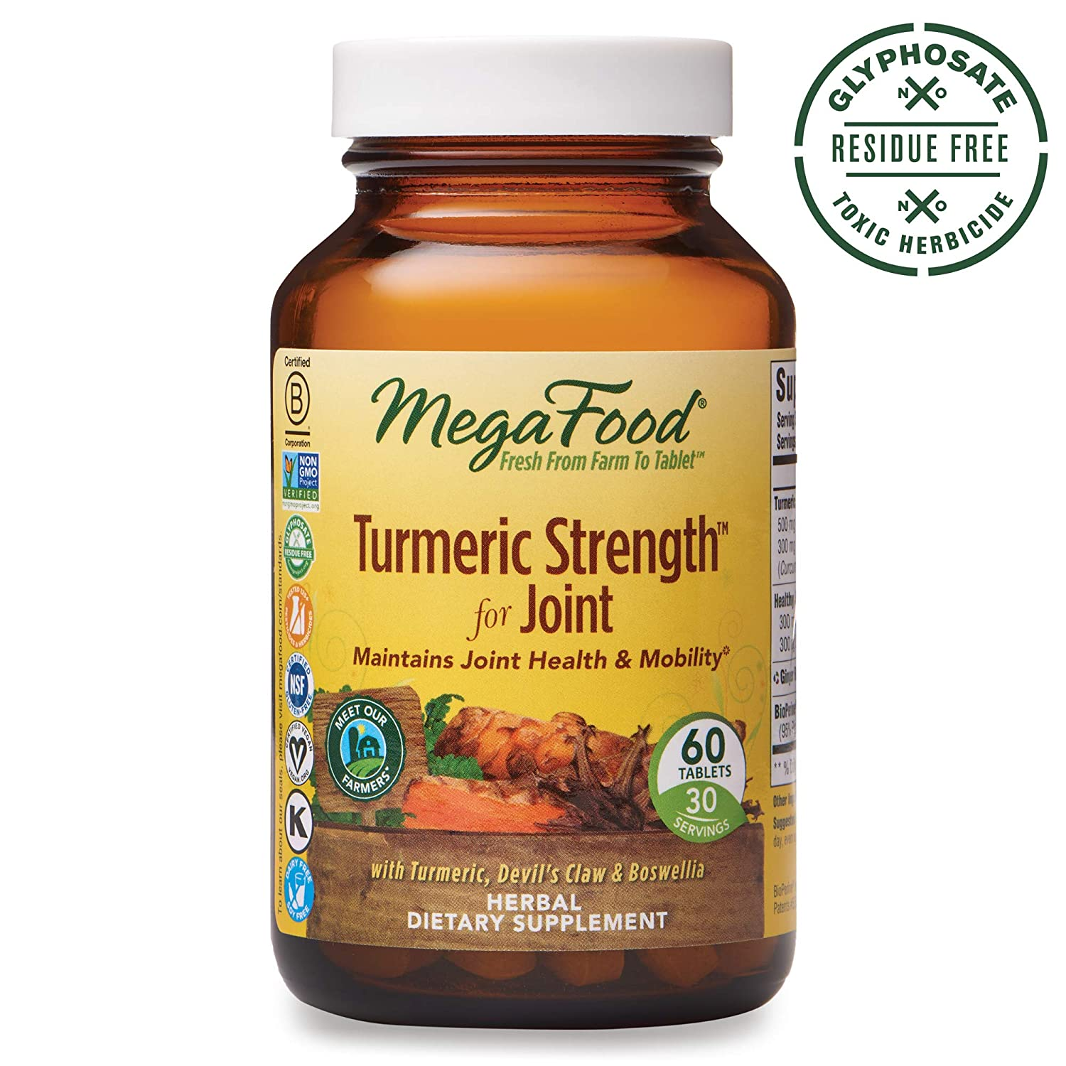 MegaFood, Turmeric Strength for Joint, Maintains Joint Health and Mobility, Vitamin and Herbal Dietary Supplement, Gluten Free, Vegan, 60 Tablets 30 Servings FFP