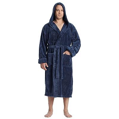 Arus Men's Hooded Satin Touch Fleece Bathrobe Turkish Soft Plush Robe at Amazon Men's Clothing store