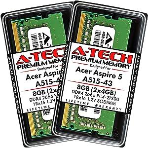 A-Tech 8GB (2x4GB) RAM for Acer Aspire 5 Slim Laptop A515-43 | DDR4 2666MHz SODIMM PC4-21300 260-Pin CL19 1.2V Non-ECC Unbuffered Memory Upgrade Kit