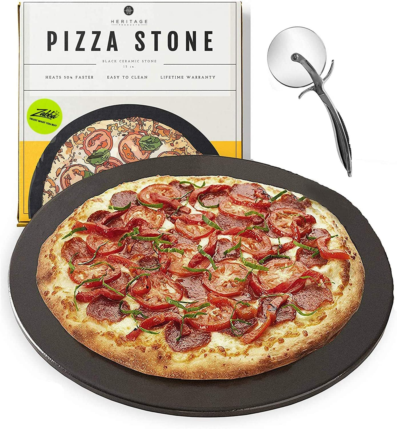 Heritage Black Ceramic Pizza Stone ​Pan ​and Pizza Cutter Wheel ​Set