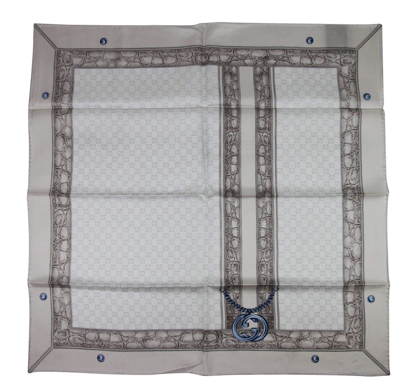 Gucci Women's Blue Interlocking Chain Print Multicolor Silk Twill Scarf 327374 1969
