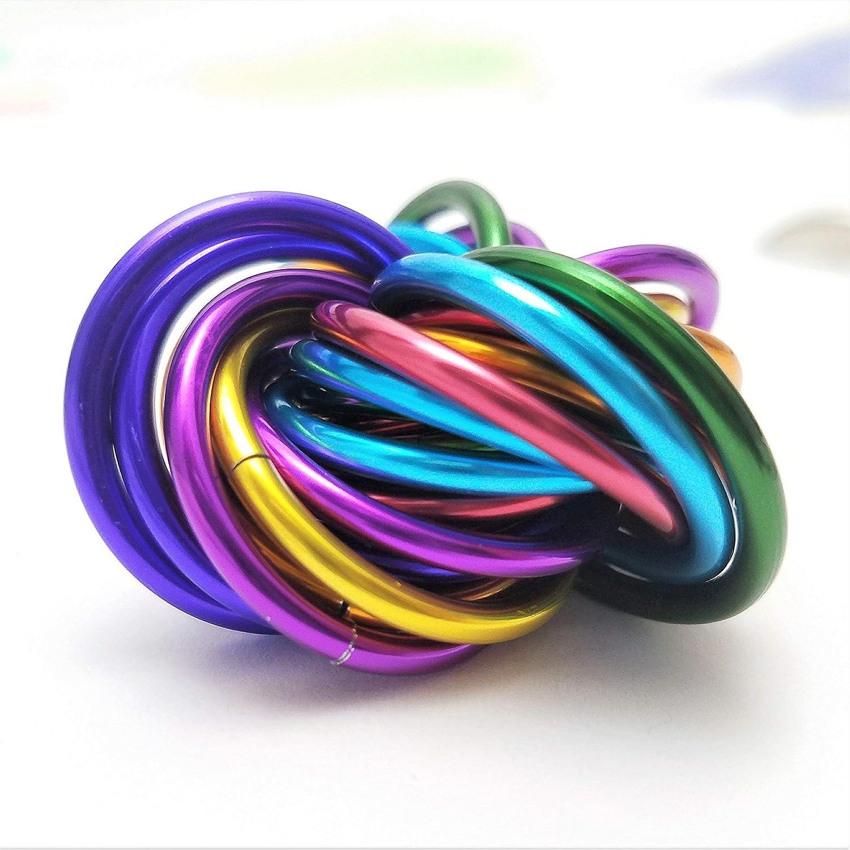 Möbii Rainbow, Medium Mobius Fidget Ball Toy, Stress Ball for Restless Hands Möbii Rainbow