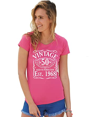 Vintage Since 1968 50th Birthday Gift Funny LadiesWomans Cotton T Shirt M 12 Fuchsia Amazoncouk Clothing