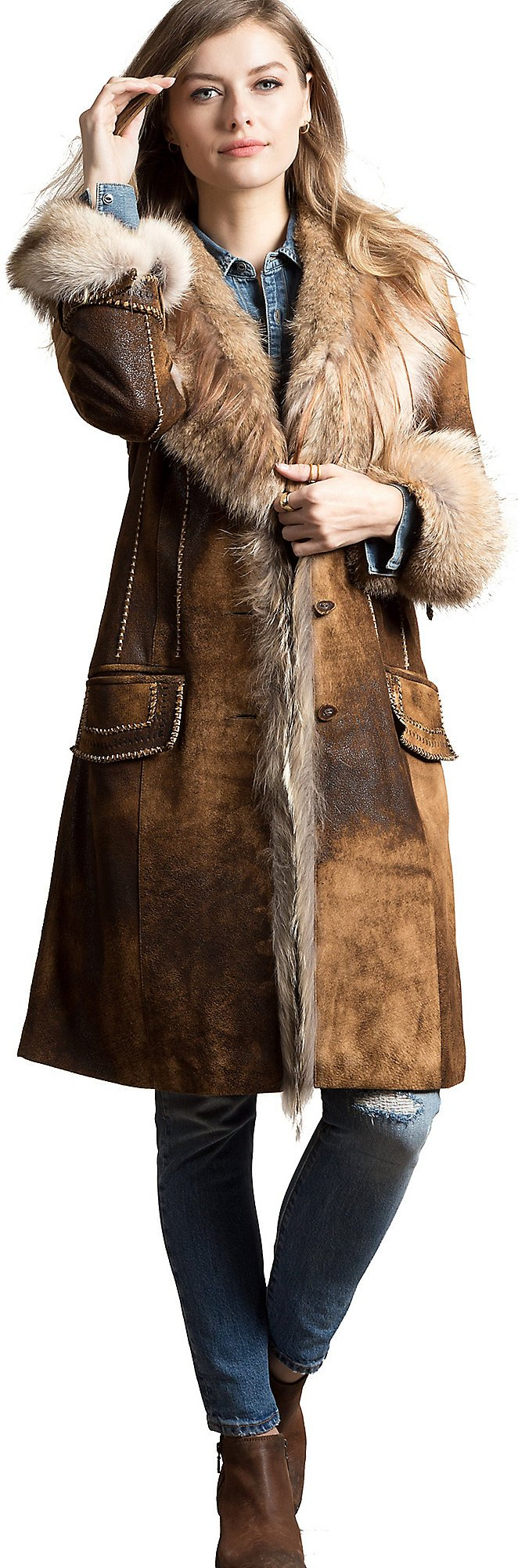 Georgia Distressed Lambskin Leather Coat with Coyote Fur Trim, BROWN, Size Large (10)