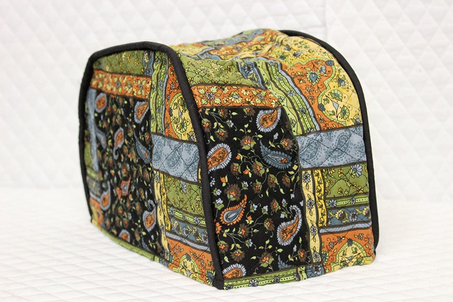 """2 Slice Toaster Cover (12""""x7.5""""x8"""") / Quilted Double Faced Cotton, Black Patch"""