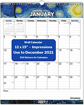 Amazon Com Cranbury Wall Calendar 2020 2021 Vertical Impressions Big Wall Calendar 2020 2021 12x15 Use To December 2021 Full Year Calendar 2021 Includes Stickers For Calendars Office Products