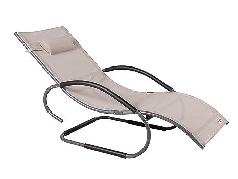 Sedia A Sdraio Basculante : Strandgut lusso alluminio xxxl vibrazione sedia a sdraio swing