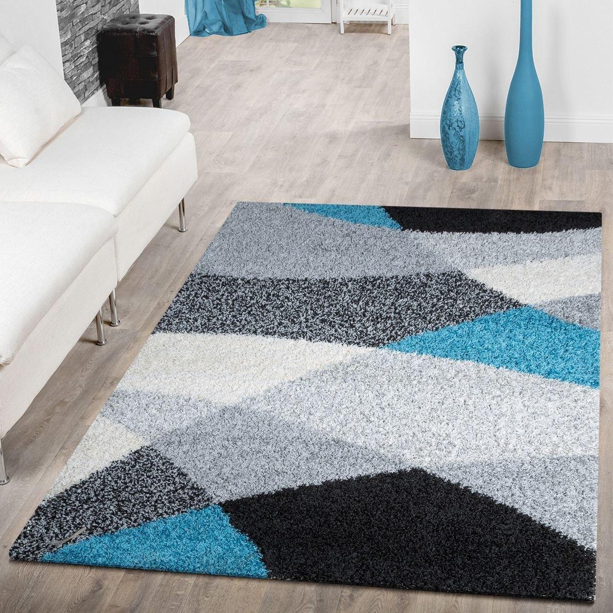 T&T Design Shaggy Teppich Hochflor Hochflor Hochflor Moderne Teppiche Geometrisch Gemustert in versch. Farben, Größe 200x280 cm, Farbe grau B076FCM12W Teppiche 8ad4c7