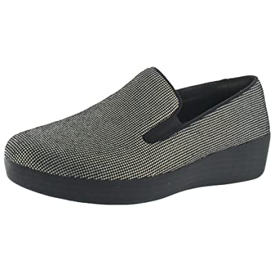 FitFlop Womens Superskate Houndstooth Print Suede Loafers Slip-On   Walking