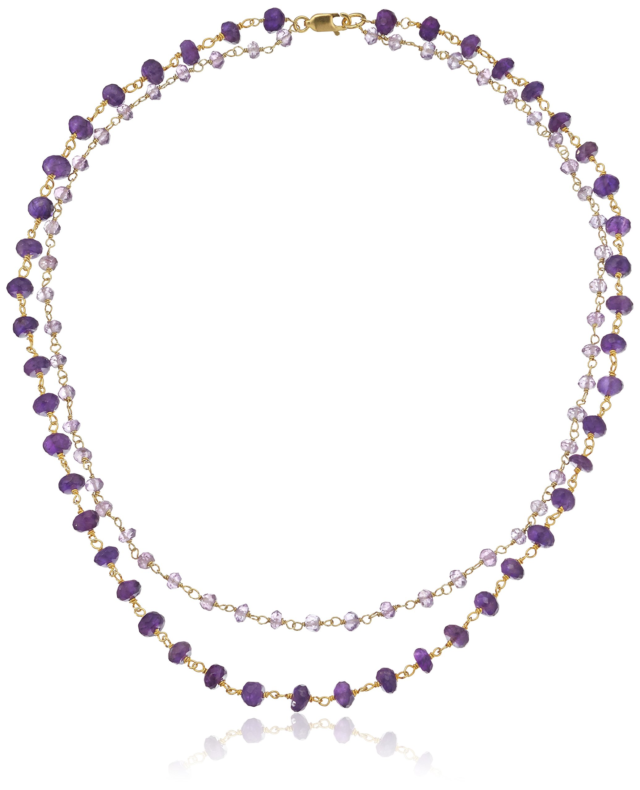 Handmade Two Row Gold Over Sterling Silver and Amethyst Beaded Link To Link Chain Choker Necklace