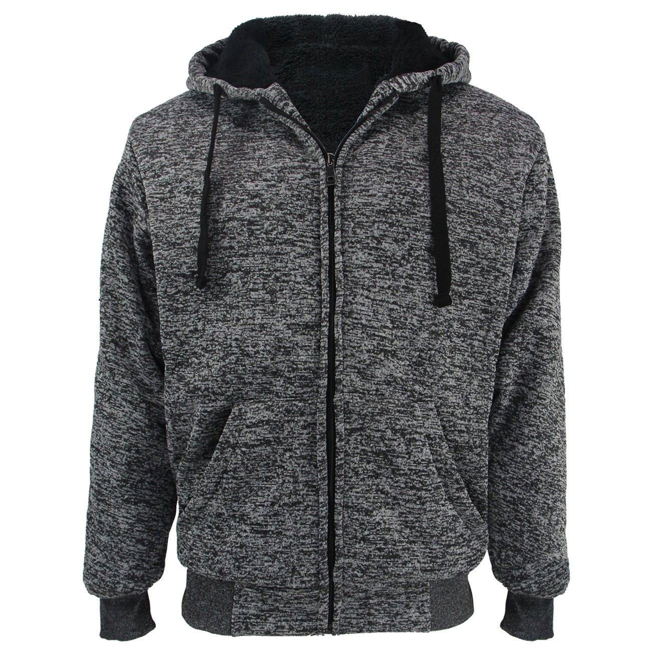 TanBridge Heavyweight Sherpa Lined Plus Sizes Warm Fleece Full Zip Mens Hoodie with Padded Sleeve & Rib Cuffs Charcoal 2XL by TanBridge