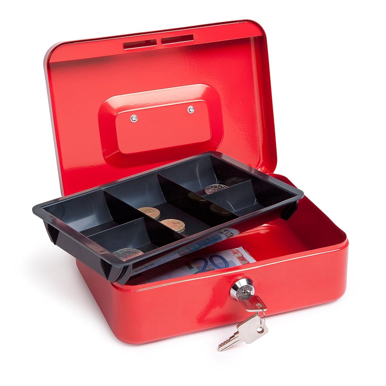 Caja Fuerte port/átil con portamonedas Interior Blanco Caja de Dinero peque/ña con Cerradura de Llave Caja de Seguridad de Almacenamiento de Monedas de Metal de Doble Capa