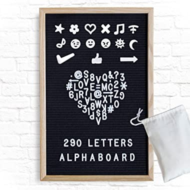 Alphaboard Changeable Felt Letter Board: Handmade 12  x 18  Premium Oak Wood Frame with 290 White 3/4  Letters, Numbers, & Punctuation, Mounting Wall Hook, Vintage Style, Charcoal Black
