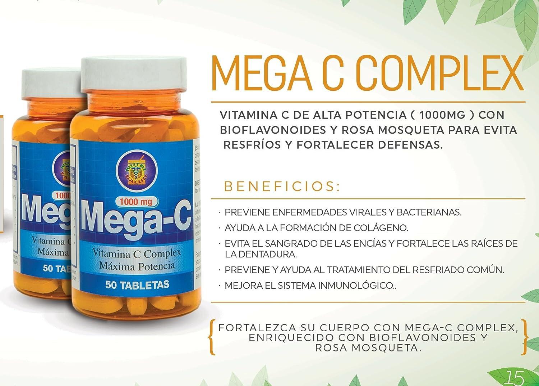 Amazon.com: Vitamina C de alta Potencia (1000mg)  Set de 2 frascos con Rosa Mosqueta y Bioflavonoides para evitar resfríos y fortalecer defensas.