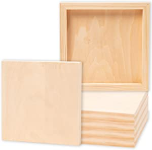 Juvale Unfinished Wood Paint Panel Boards, Wooden Canvas for Arts and Crafts (8x8 in, 6 Pack)