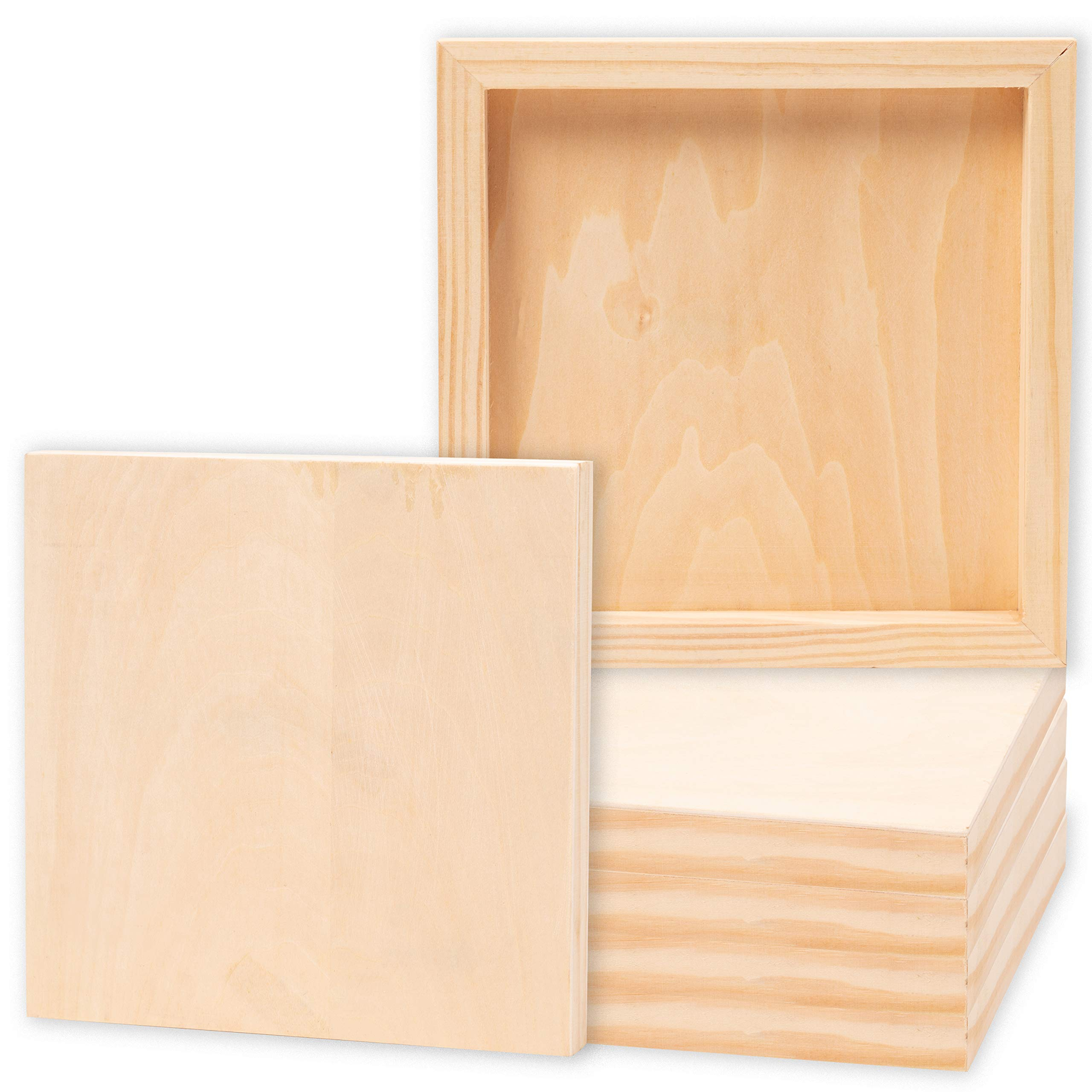 Juvale 6-Pack 8x8 Unfinished Wood Canvas Cradled Panel Boards for Painting, Drawing, Arts & Crafts by Juvale
