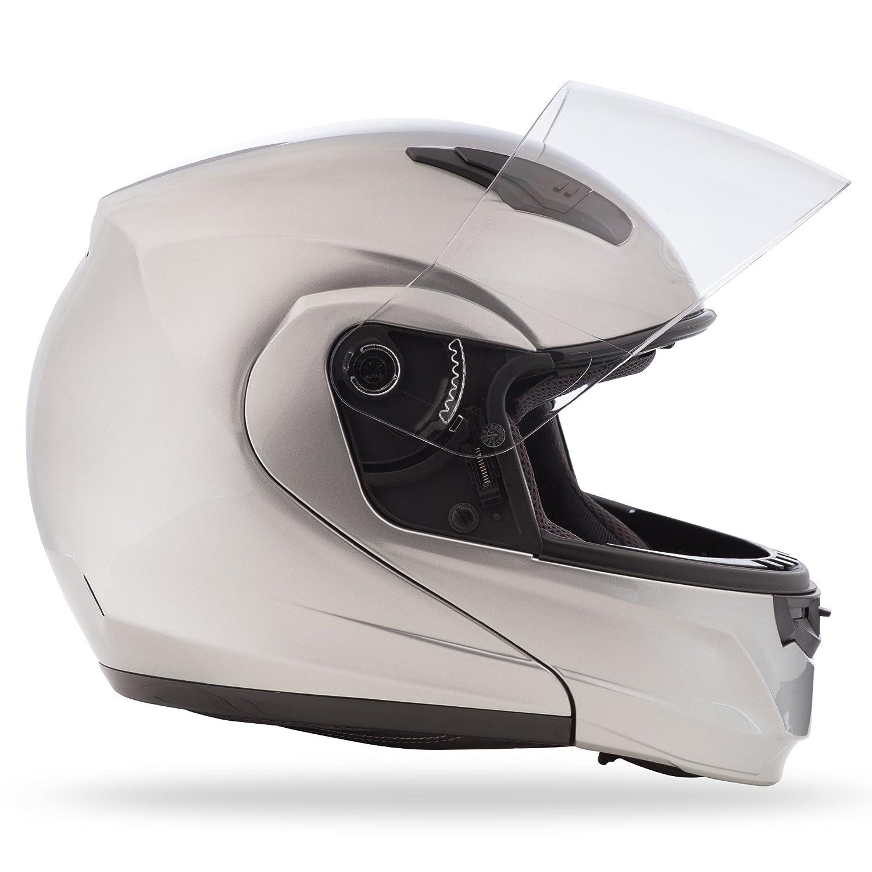 GMAX MD04 Modular Mens Street Motorcycle Helmet Metallic Silver Large