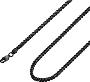 FIBO STEEL 3-6mm Stainless Steel Black Franco Chain Necklace for Men Biker Punk Style 16-30 inches