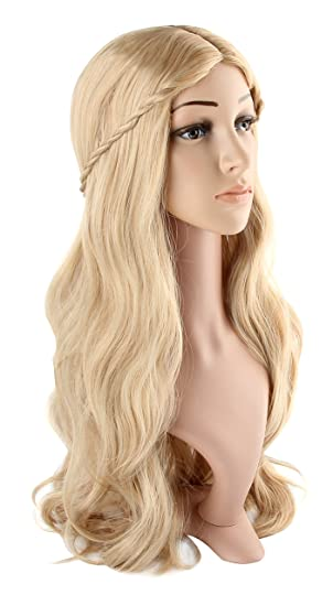 Womens Long Curly Fancy Dress Wigs Blonde Cosplay Cinderella Costume Ladies Wig Party Free Wig Cap