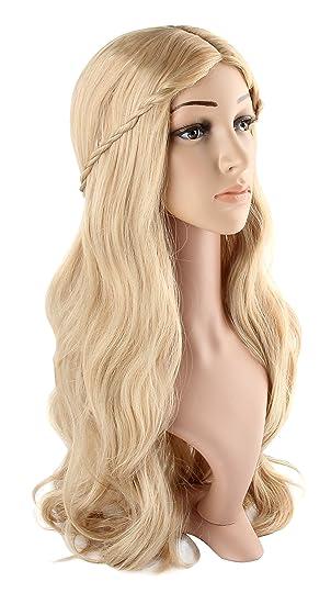 Discoball Women s Long Curly Fancy Dress Wigs Blonde Cosplay Costume Ladies  Wig Party Free Wig Cap  Amazon.co.uk  Beauty de0d59d177ca