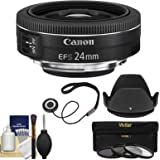 Canon EF-S 24mm f/2.8 STM Wide Angle Lens with 3 Filters + Hood + Kit for EOS 70D, 7D, Rebel T3, T3i, T4i, T5, T5i, SL1 DSLR Camera