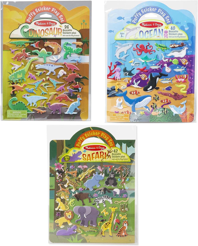Melissa & Doug Reusable Puffy Sticker Wild Adventures Play Set 3 Pack (118 Stickers: Safari, Dinosaur, Ocean)