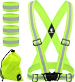 High Visibility Reflective Vest - Safety Reflector Bands - Reflective Running Gear for Men and Women for Night Running, Cycling, Walking