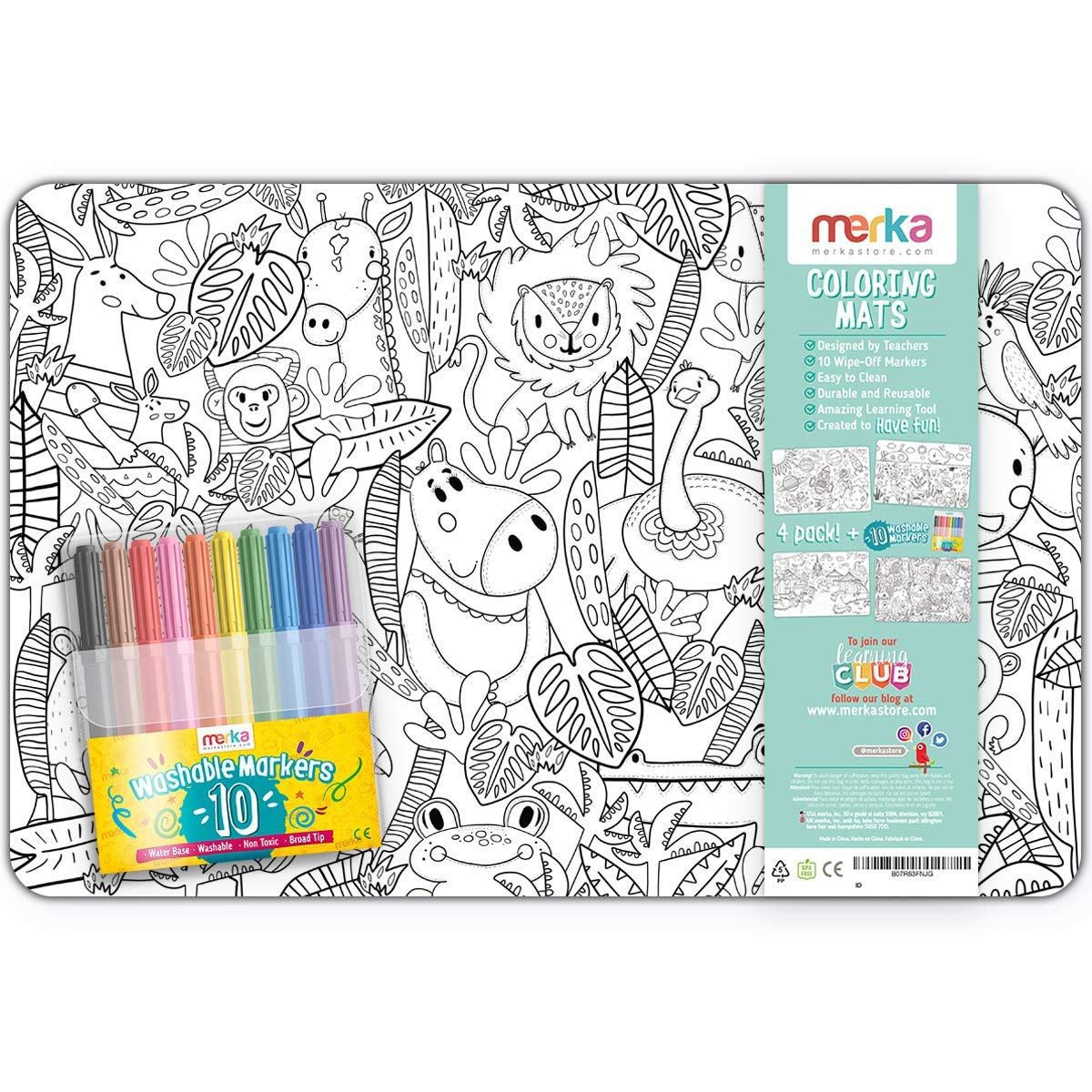 merka Coloring Placemats for Kids - Places Set - Bundle of 4 Mats with 10 Markers - Improve Motor Skills and Boosts Creativity - Erasable and Reusable - Develops Creativity and Hand Muscles
