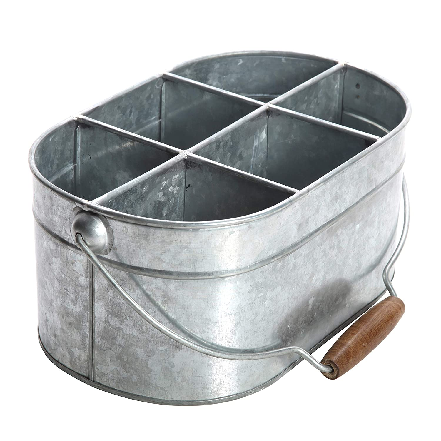 "Hosley's Galvanized Carry All, Kitchen / Utensil Caddy, Serve Ware 13"" Long. Ideal for Party, Garden, Patio. O3"