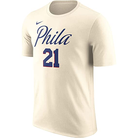 Nike NBA Philadelphia 76ers Joel Embiid 21 2017 2018 City Edition Jersey Official Name & Number